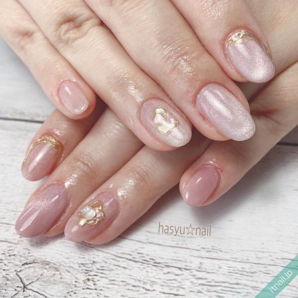 桜ピンクで作る人気のマグネットネイル