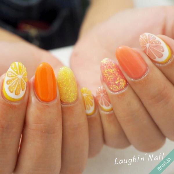 ぷっくりレモンとオレンジネイル